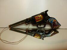 VINTAGE OLD  SG BEST GUN COWBOY CORK TOY GUN - BLACK L23.0cm - GOOD CONDITION