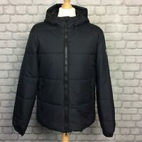 EA7 EMPORIO ARMANI MENS UK L BLACK PADDED HOODED SHIELD COAT JACKET RRP £260 AD