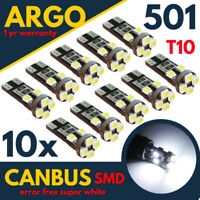 10x 501 LED WHITE SIDE LIGHT BULBS T10 CAR W5W CANBUS ERROR FREE WEDGE XENON HID