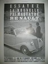 PUBLICITE DE PRESSE RENAULT PRIMAQUATRE AUTOMOBILE 4 CYL. FRENCH AD 1937