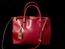 Classic Ralph Lauren Newbury LARGE Leather Shopper Tote CLARET EUC