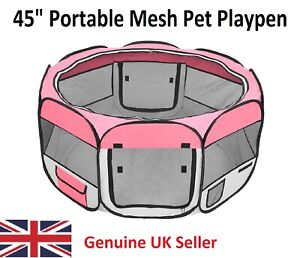 "HOBBYZOO 45"" Pink Portable Foldable 600D Oxford Cloth & Mesh Pet Playpen - UK"