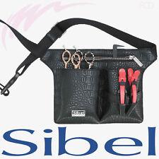 SIBEL PROFESSIONAL HAIRDRESSING BLACK BELT TOOL BAG WAIST BELT CROCO 4 SCISSORS