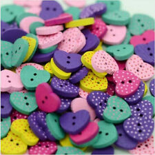50 Multicolor Heart Shape Wood Sewing Buttons Scrapbooking Knopf Bouton 2 Hole