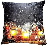 CHRISTMAS LED LIGHTS SNOW VILLAGE SCENE LUXURY VELVET CUSHION COVER £5.45 EACH