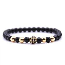 Men's Natural Stone Matte Black CZ Charm 6mm Ball Copper Beads Fashion Bracelets