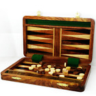 """10"""" Handcrafted Wood Travel Backgammon pieces Set Game Folding Board"""