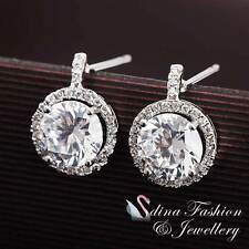 18K White Gold GP Made With Swarovski Element Round Exquisite Halo Stud Earrings