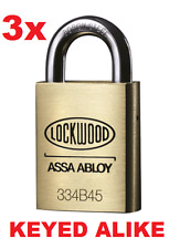 3x Lockwood Padlock Keyed Alike 4 x keys High Security Padlock 334B45/119/5K