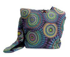 Crossbody Hobo Purse 100% Cotton Purple Geometric Mandala Hippie Shoulder Bag