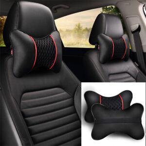 2Pcs Black PU Leather Car Seat Head Neck Rest Cushion Pad Headrest Pillow Set
