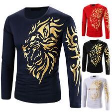 Shirts Mens Fashion Luxury T-Shirt Long Sleeve Hot Print Men Casual Slim Fit ~