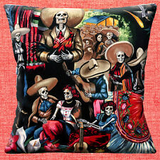 Mexican Day of the Dead Cushion Cover 16x16 40cm Skeletons Fiesta San Marcos