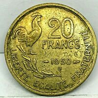 1950-B FRANCE 20 FRANCS Coin - 4 PLUMES (FEATHER) Key date  KM#916.2