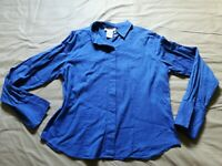 Talbots Women's 12 Royal Blue 100% Cotton Long Sleeves Button Down Shirt