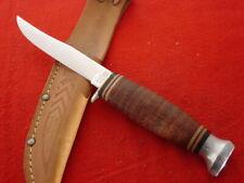 """KA-BAR Made in USA 8"""" 1200 Polished Leather Fixed Blade Sheath knife MINT"""