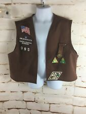 Girl Scout USA Brownie Uniform Vest Patches Size Large Brown N Central Alabama