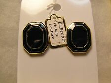 Vintage Gold Tone Octagon Shaped Navy Blue Lacquer Pierced Earrings