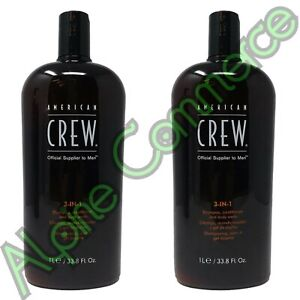 *2-Pack* American Crew 3-IN-1 Shampoo Conditioner & Body Wash 33.8 Oz
