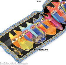 Laurel Burch Silk SCARF Wrap Tribal Cat Faces NEW Retired