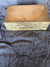 BRASS VINTAGE CIGARETTE BOX WOOD LINED
