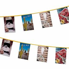 10m Rectangle Bunting Wild West Cowboy Party Banner Decorations Bull Cactus Gun