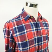 J Crew Mens Small Flannel Shirt Red White Blue Plaid Herringbone Cotton Casual