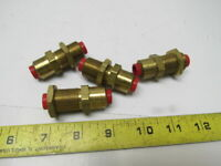 "3/8"" Tube/Hose Push to Connect Bulk Head Union Brass 3/4-24 Thread Lot of 4"