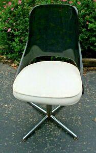 DUCHESS FURNITURE Mid Century Modern Desk Dinette Swivel Chair Lucite & Metal