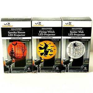WAY TO CELEBRATE 3 LED PROJECTORS HALLOWEEN FLYING WITCH,SPIDER WEB,SPOOKY HOUSE