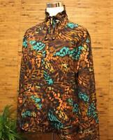 Zenergy by Chico's Jacket 2 (Fits L) Zip Up Animal Print Brown Teal Coral Black