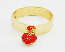 Gold Toned Bangle With Red Rhinestone Heart Charm