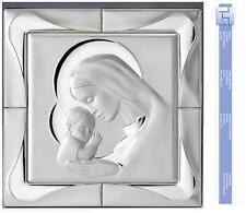 BEDBOARD carré MADONNA avec ENFANT Cm.43x43 R/ACAJOU PLAQUE ARGENT 925% 10825