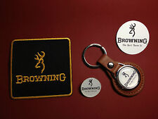 BROWNING GUNS , KEY RING, SILVER PLATED BADGE & PATCH SET  & FREE PHONE STICKER