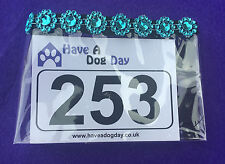 Dog Show Exhibitor Ring Number Holder Armband - BLUE DAISY Bling Sparkles