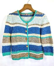 J Jill Womens Stretchy Knit Sweater XS Striped Colored Pattern Larrge Buttons