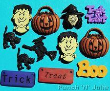 SCARY FUN  Witch Frankenstein Cat Pumpkin Trick or Treat Halloween Craft Buttons