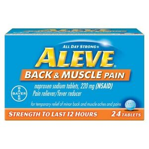 Bayer Aleve Back & Muscle Pain Relief Lasts 12 hours 24 tablets