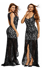 Black Lace Fishtail Evening Dress Party Dress UK 12