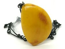 Old Vintage Baltic Amber Pendant Egg Yolk Butterscotch Original Chain 13,5g 9856