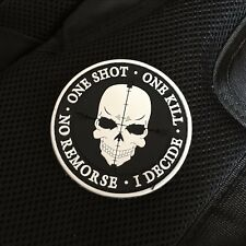 SNIPER ONE SHOT ONE KILL Death Skull DEVGRU SWAT Tactical Morale 3D PVC Patch