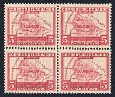 Ecuador RA41 block/4,MNH.Postal Tax Stamp 1938.Map