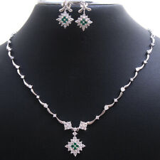 Green Emerald CZ Necklace Earring 3 Piece Set 925 Sterling silver Jewelry
