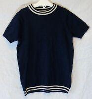 Girls Next Dark Navy Blue White Stripe Thin Knit Short Sleeve Jumper Age 5 Years