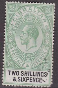 GIBRALTAR 1925 2/6 KGV definitive SG104 CV £29+ VFU Pulled Corner Perf