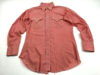 Vintage Levis Sta-Prest Men 15-32 Red White Check Plaid Pockets Pearl Snap Shirt