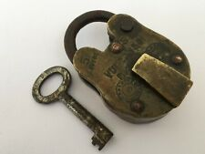 Lock Old Vintage Brass Padlock With Key Rich Patina Collectible Velcun 5 Lever