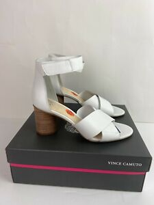 Vince Camuto Women's New White Leather Strappy Ankle Strap Heel VC-Jessera 9.5🔥