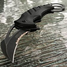 "8.0"" MTECH USA SPRING ASSISTED BLACK KARAMBIT FOLDING POCKET KNIFE TACTICAL OPEN"
