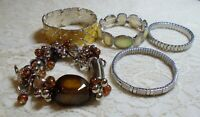 VINTAGE TO NOW ASSORTED SILVER TONE METAL STRETCH BRACELET LOT